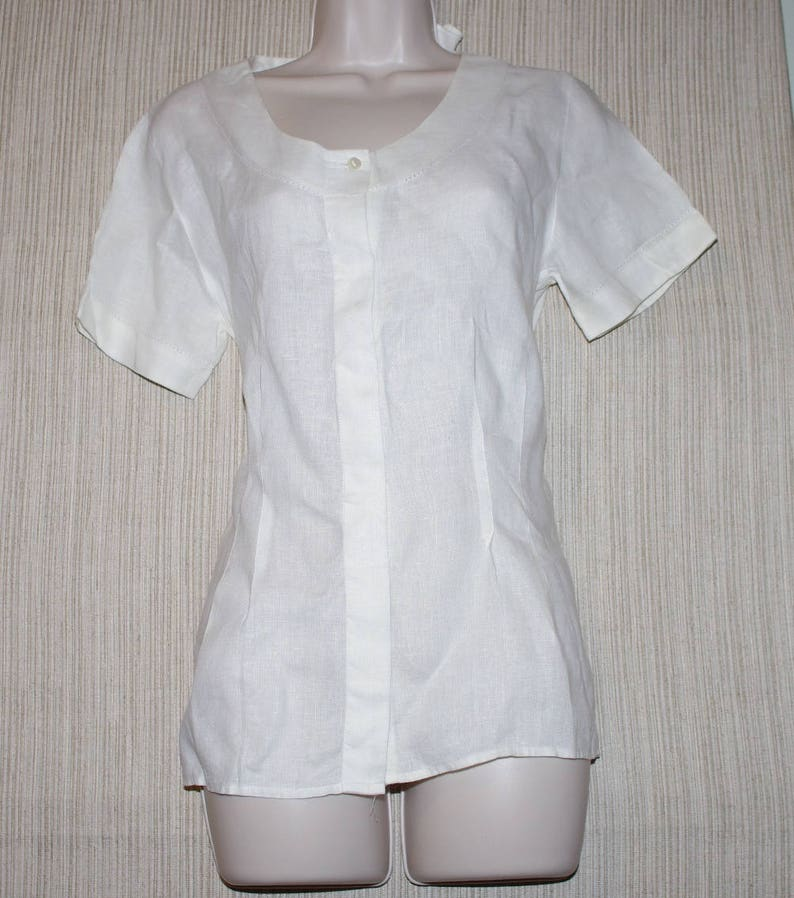 093fd725 W by Worth Off White Linen Short Sleeve Women Top Blouse   Etsy