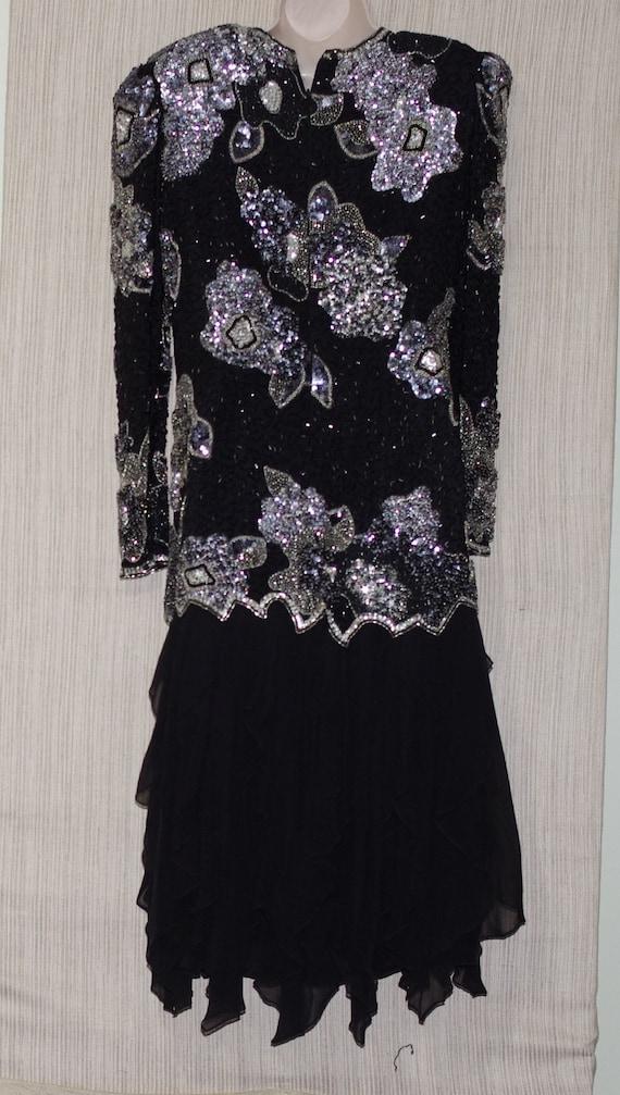 Black Tie  Made by He-Ro Industries Black Silk Beaded Sequin Big Shoulder Long Sleeve Cocktail Dress Size Vintage 10