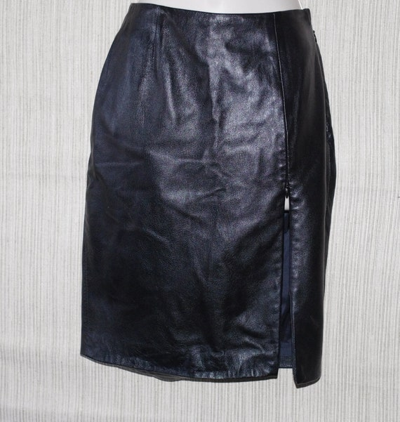 Daniel & Rebecca Black Leather Vintage Pencil spli