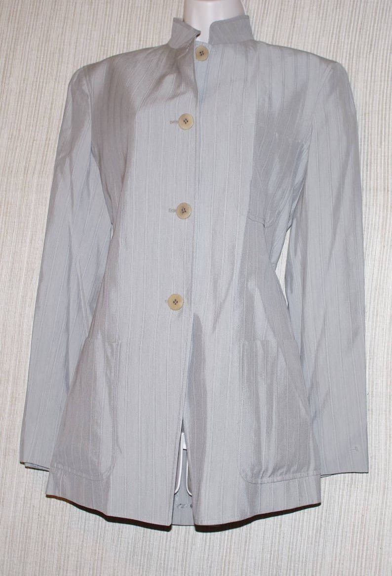 quality design 40da7 00cce DONNA KARAN Italy Light Gray Rayon Wool Long Jacket Women Size: USA 6 Italy  40