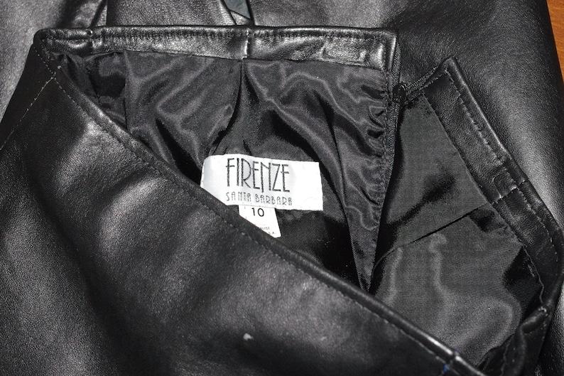 fit Small Santa Barbara Firenze Black Leather Pencil Skirt Size:10 Waist 26