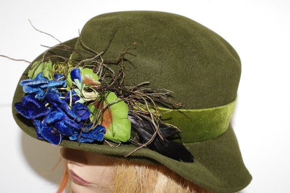 Barbara Ross New York Green Felted Floral Women s Hat  98f31e9373a