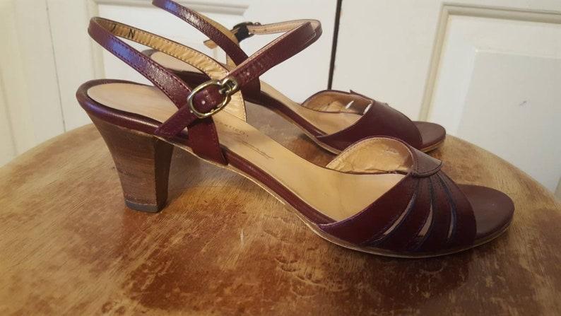 589c892824 Vintage Etienne Aigner Leather Oxblood Sandals US 7.5 N Made