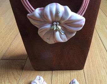 Carol Halmy Porcelain and Pearl Pink Flower Pendant & Necklace and Earring Set