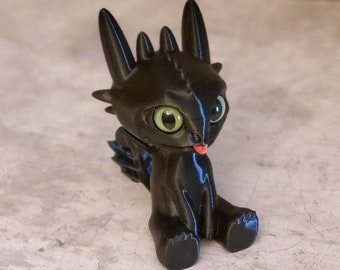 Baby Toothless Dragon 3D FDM Printed with Acrylic Eyes