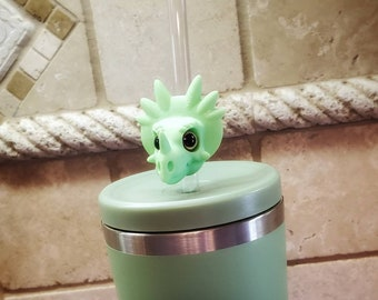 Lil Dino Pal Styracosaurus 3D Printed with Acrylic Eyes Straw Topper / Straw Buddy / Straw Mate / Tumbler Accessory