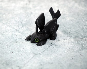 Mini Toothless Straw Topper 3dPrint with Acrylic Eyes! 3d Printed Figure - Mug Topper - 3d Printed Figures - 3d Printed Figures