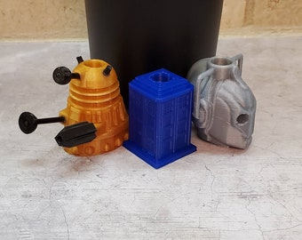 The Doctor Exteeminate Delete set of Three 3D FDM Printed Straw Topper / Straw Buddy / Straw Mate / Tumbler Accessory