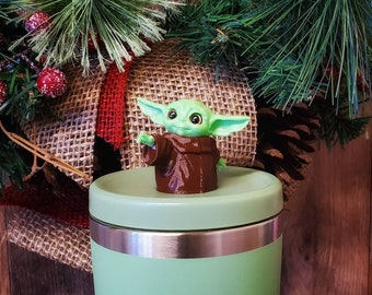 Mini Baby Alien Straw Topper 3dPrint with Acrylic Eyes! 3d Printed Figure - Baby Yoda Figure