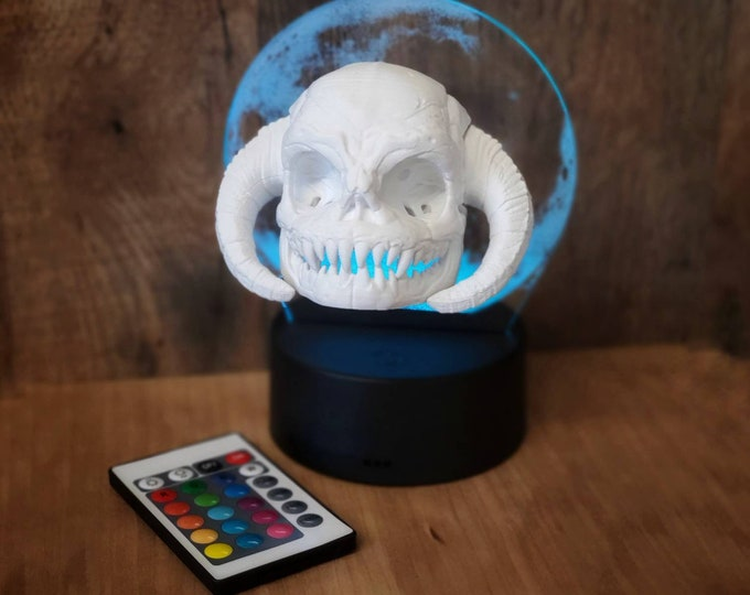 Yeti Skull Night Light Color Changing with Remote! Custom 3d Printed Skull - 3d Printed Figures