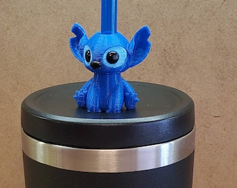 Experiment 626 Stitch Mini Baby Alien 3D FDM Printed with Acrylic Eyes Straw Topper / Straw Buddy / Straw Mate / Tumbler Accessory