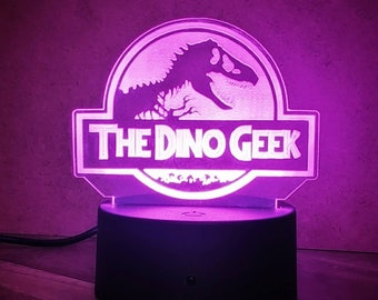 Custom Jurassic World Inspired Color Changing LED Acrylic Light with Remote