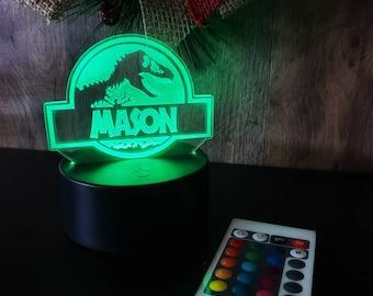 Personalized Dinosaur Night Light with Remote! Jurassic Park Decor - Jurassic Park Light