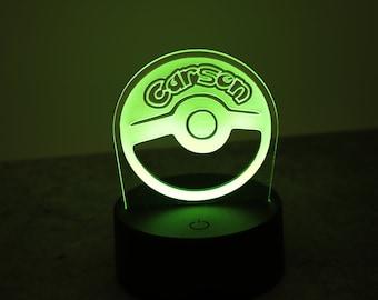 Personalized Pokemon Night Light Color Changing with Remote! Pokemon Gifts - Pokemon Decor - Pokemon Light