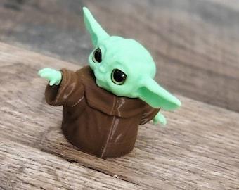 Mini Baby Alien 3d Printed Figure with Acrylic Eyes! Baby Yoda Figure