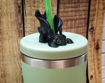 Toothless Mini Dragon 3D FDM Printed with Acrylic Eyes Straw Topper / Straw Buddy / Straw Mate / Tumbler Accessory