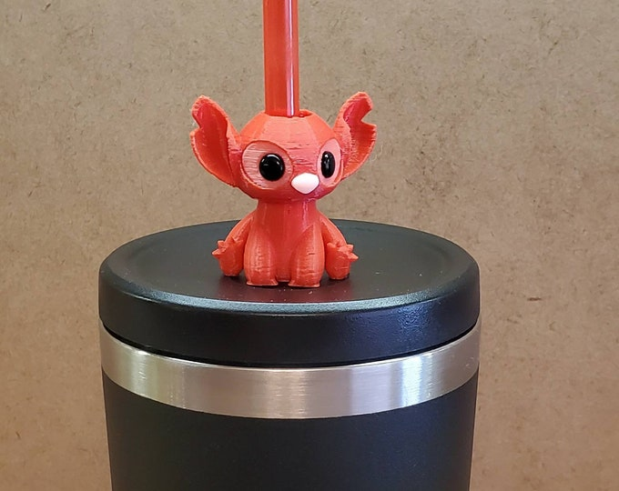 Experiment 624 Angel Mini Baby Alien 3D FDM Printed with Acrylic Eyes Straw Topper / Straw Buddy / Straw Mate / Tumbler Accessory