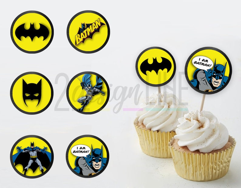graphic about Batman Cupcake Toppers Printable referred to as Batman Cupcake Toppers, Batman Birthday Decor - Printable Birthday Toppers, Batman Social gathering Toppers, Batman Get together Favors - Prompt Down load