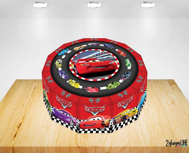 Astonishing Disney Cars Birthday Cake Boxes Printable Cars Party Cake Etsy Funny Birthday Cards Online Alyptdamsfinfo