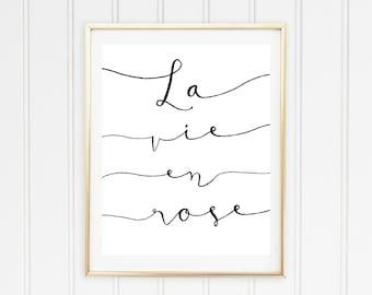 La Vie En Rose Printable Poster // Printable Quote // Printable Lyrics