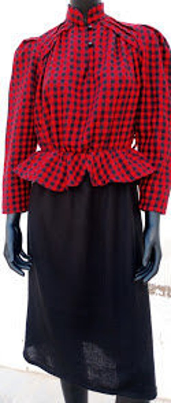 Vintage 1940s style 1980s knitted peplum blouse dr
