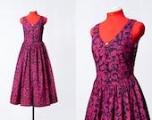 vintage 1980s Laura Ashley purple leaves print dress Small to Medium