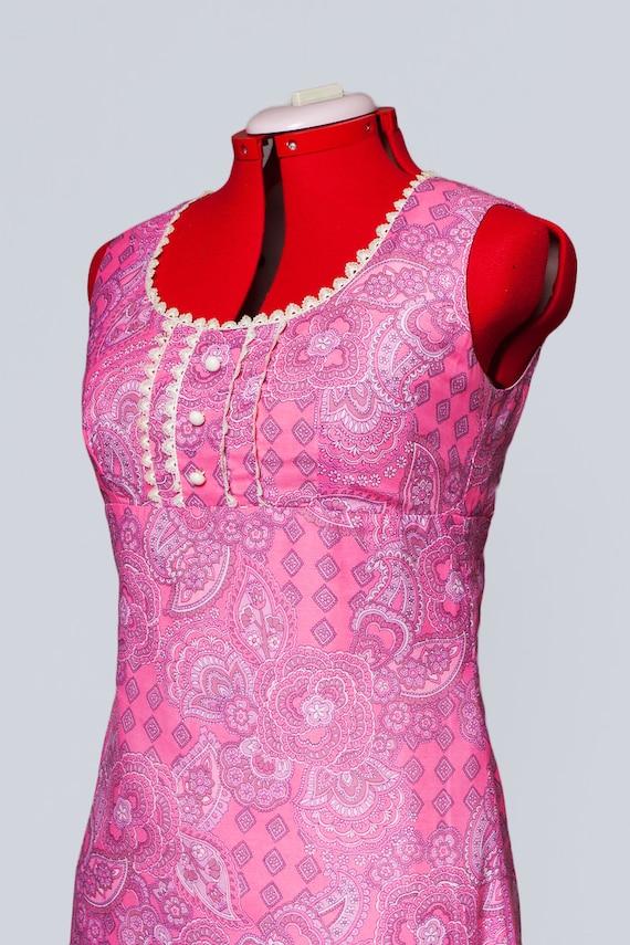1960s paisley print maxi babydoll dress - image 7
