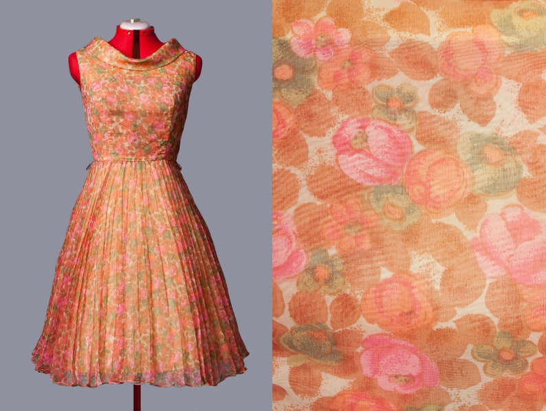 b8e81eb963b Vintage 1950s 50s plated chiffon party dress sheer floral