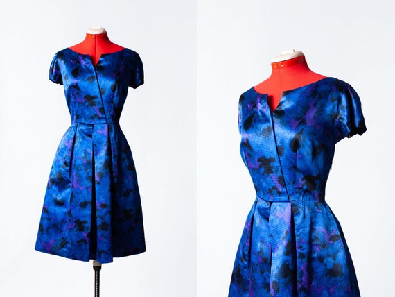 1960s cobalt blue cocktail dress