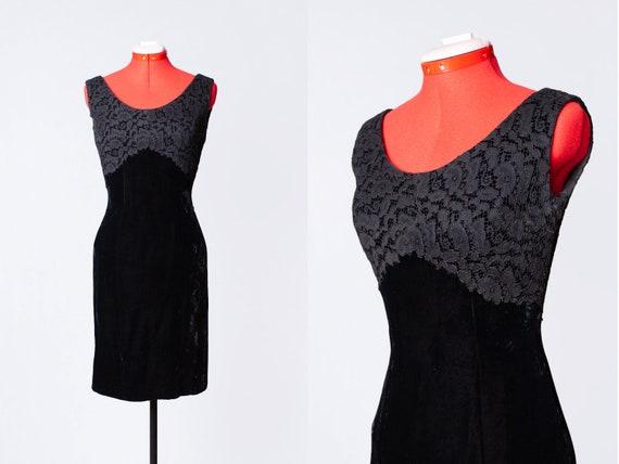 1950s silk velvet and lace dress