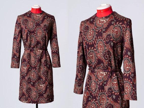 1960s paisley print wool dress - image 1
