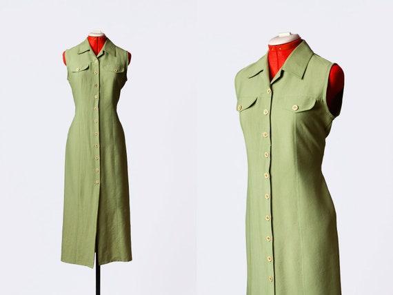 green longline button up dress