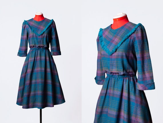 1970s plaid dress with pockets
