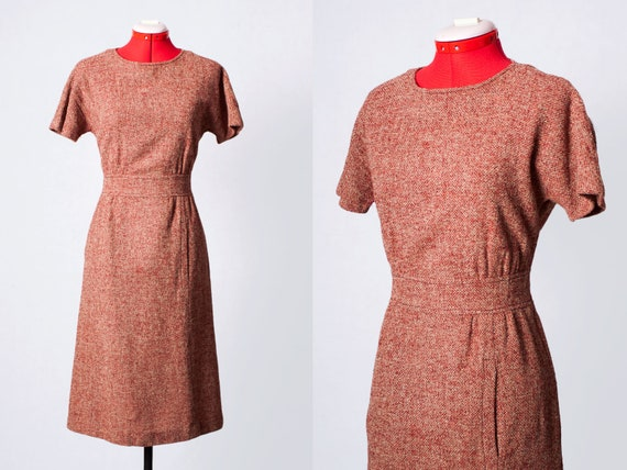 1960s wool wiggle dress with pockets