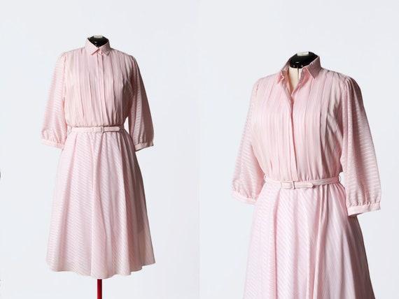 1980s pink striped dress