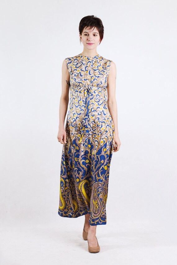 1960s paisley print silk maxi dress - image 2