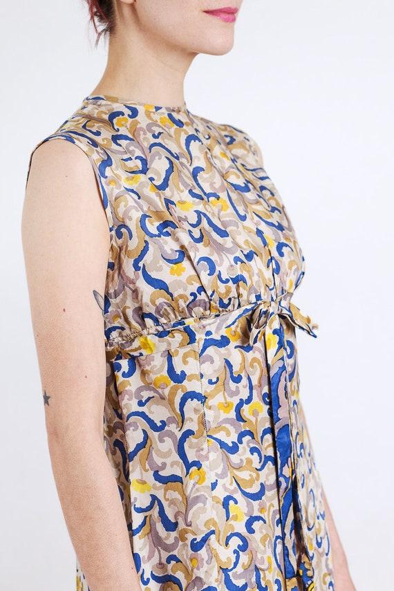 1960s paisley print silk maxi dress - image 7