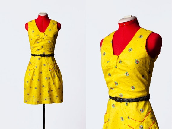 yellow cotton sundress with pockets