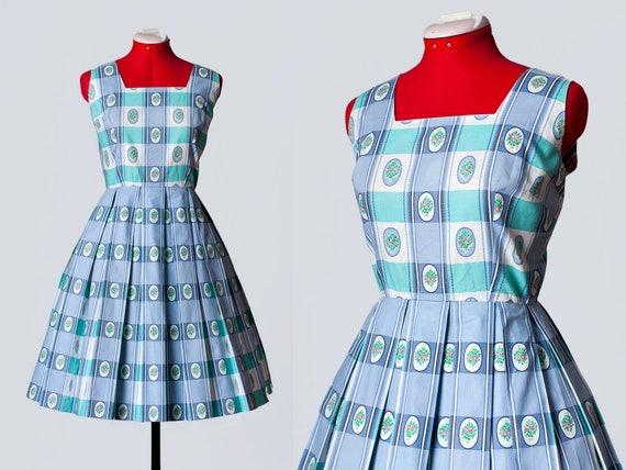 1950s floral plaid cotton dress