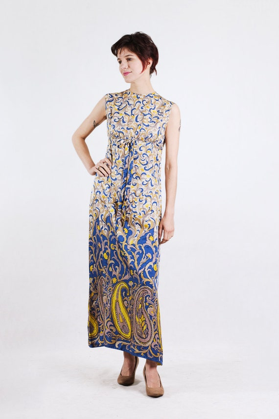 1960s paisley print silk maxi dress - image 3