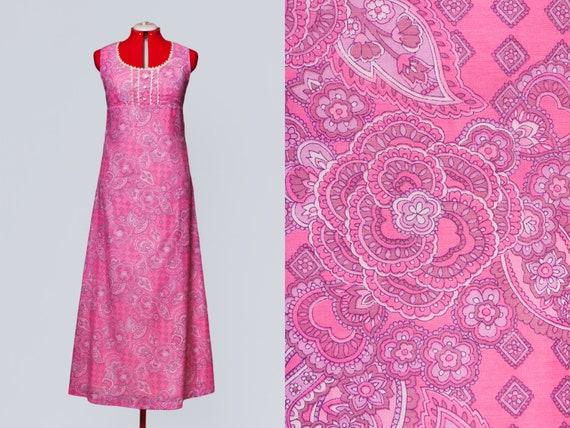 1960s paisley print maxi babydoll dress