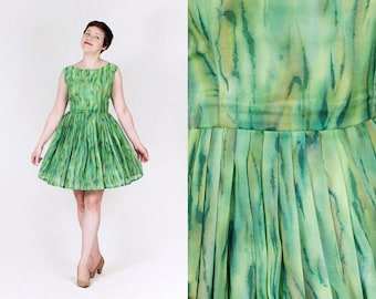 vintage 1960s custom made river green brush strokes pleated full skirt fit and flare mini dress