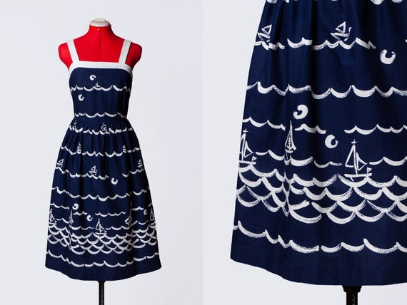 1950s nautical print sundress