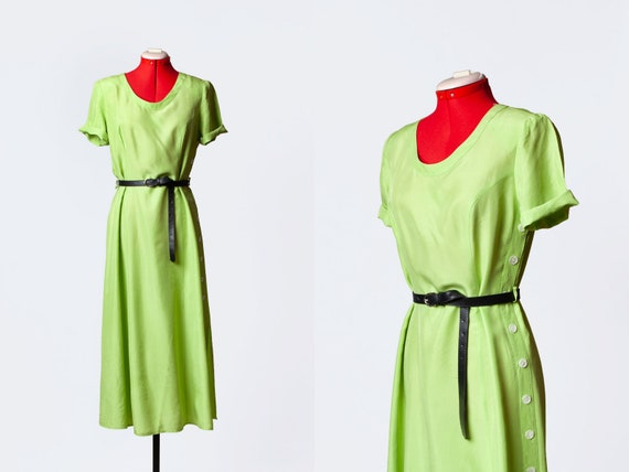 lime green silk dress