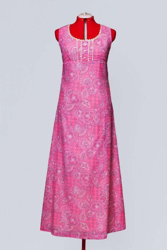 1960s paisley print maxi babydoll dress - image 2