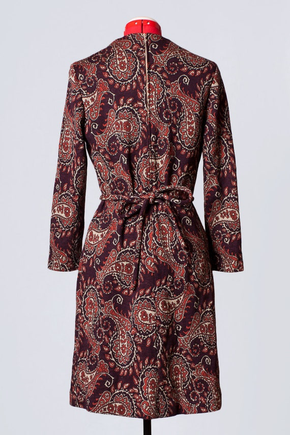 1960s paisley print wool dress - image 7