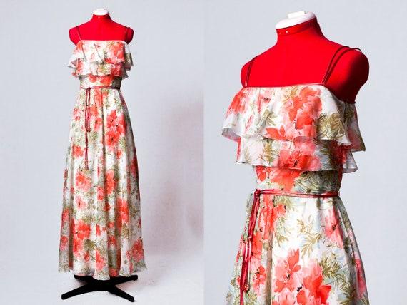 1970s poppies print chiffon party dress