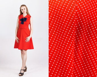 vintage 1960s red and white tiny squares weave large collar navy bow fit and flare dress size S Small M Medium