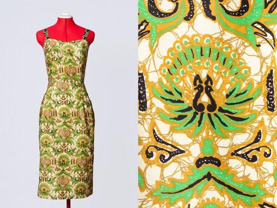1950s batik print pencil dress