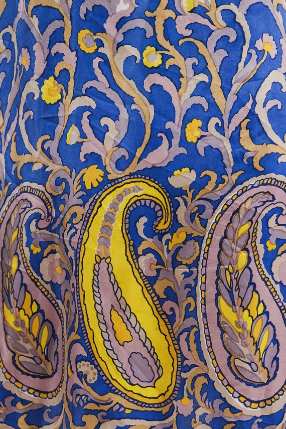1960s paisley print silk maxi dress - image 10